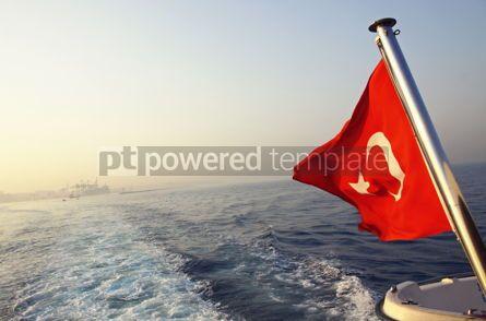 Education: Flag of Turkey on a boat in Bosphorus strait #09768