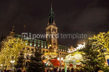Architecture : Christmas market (Weihnachtsmarkt) at Town Hall square in Hambur #09771
