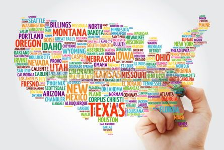 Business: USA Map word cloud with marker most important cities #09802