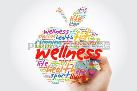 Health: Wellness apple word cloud with marker health concept background #09806
