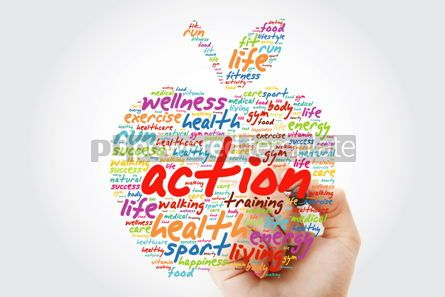 Health: ACTION apple word cloud with marker health concept background #09808