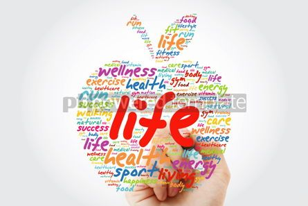 Health: LIFE apple word cloud with marker health concept background #09809