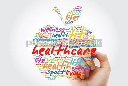 Health: Healthcare apple word cloud with marker health concept backgrou #09810