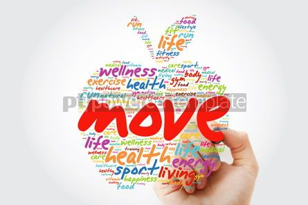 Health: MOVE apple word cloud with marker health concept background #09811