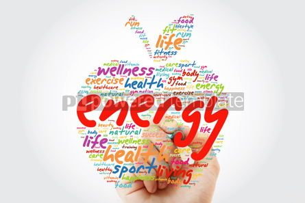 Health: ENERGY apple word cloud with marker health concept background #09812