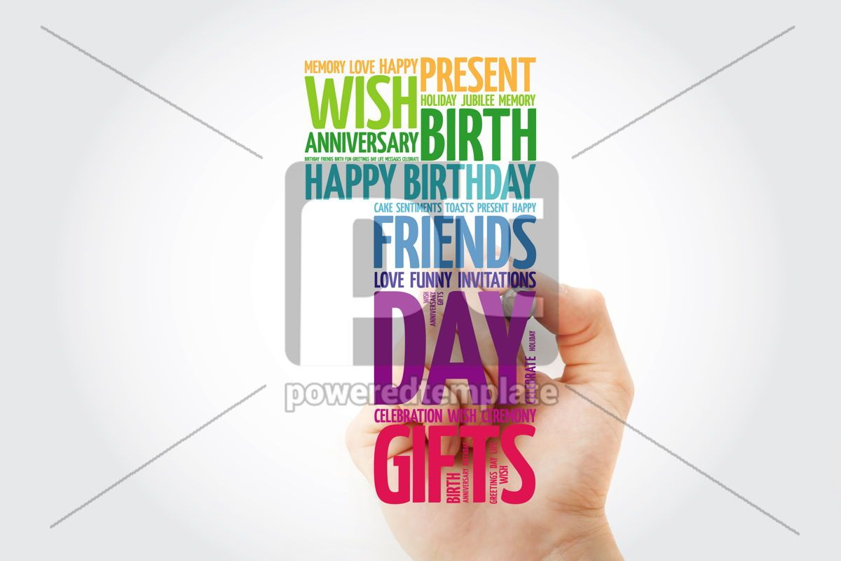 Happy 1st birthday word cloud collage with marker, 09816, Holidays — PoweredTemplate.com