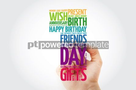 Holidays: Happy 1st birthday word cloud collage with marker #09816