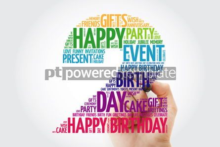 Holidays: Happy 2nd birthday word cloud collage with marker #09817