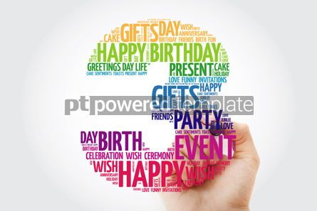 Holidays: Happy 3rd birthday word cloud collage with marker #09818