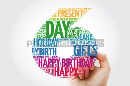 Holidays: Happy 6th birthday word cloud collage with marker #09822