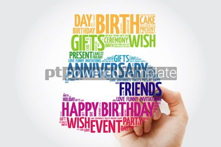 Holidays: Happy 5th birthday word cloud collage with marker #09823