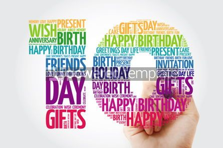 Holidays: Happy 10th birthday word cloud collage with marker #09825