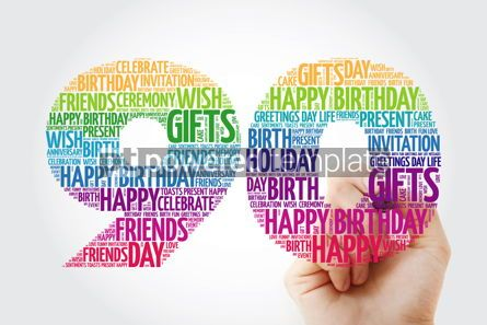 Holidays: Happy 90th birthday word cloud collage with marker #09826