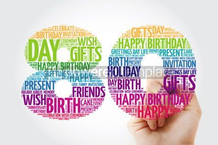 Holidays: Happy 80th birthday word cloud collage with marker #09827