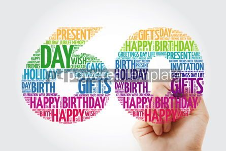 Holidays: Happy 60th birthday word cloud collage with marker #09829