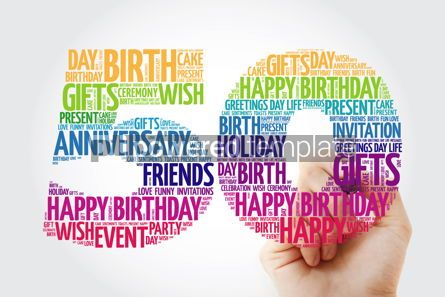 Holidays: Happy 50th birthday word cloud collage with marker #09830