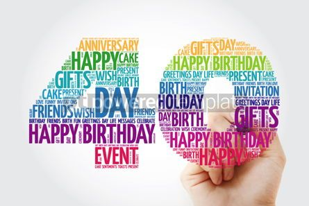 Holidays: Happy 40th birthday word cloud collage with marker #09831