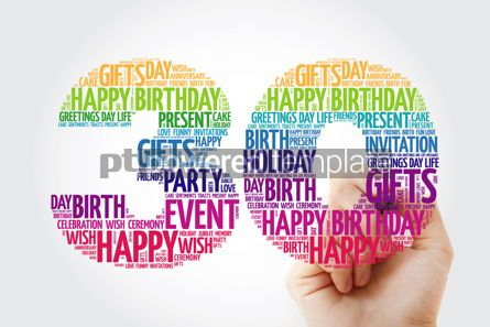 Holidays: Happy 30th birthday word cloud collage with marker #09832