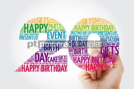 Holidays: Happy 20th birthday word cloud collage with marker #09833