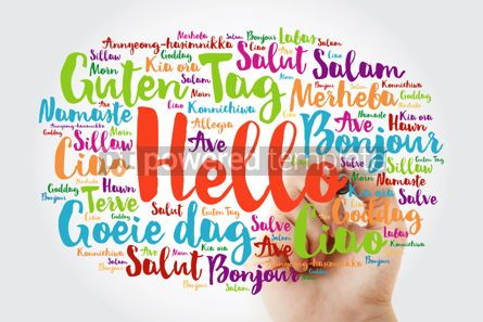 Business: Hand writing Hello word cloud with marker in different languages #09851