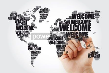 Business: WELCOME World Map in Typography word cloud with marker business #09853