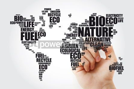 Business: Ecology theme World Map in Typography word cloud with marker co #09854