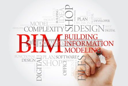 Business: Hand writing BIM - building information modeling word cloud with #09857