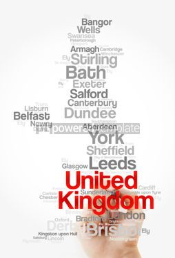 Business: List of cities and towns in UNITED KINGDOM map word cloud colla #09858
