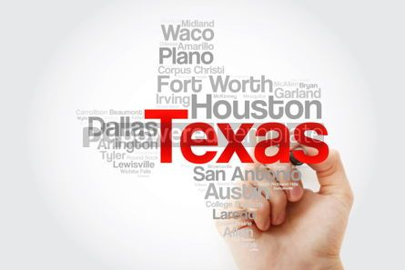 Business: List of cities in Texas USA state word cloud map with marker co #09859