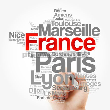 Business: List of cities and towns in FRANCE map word cloud collage busi #09862
