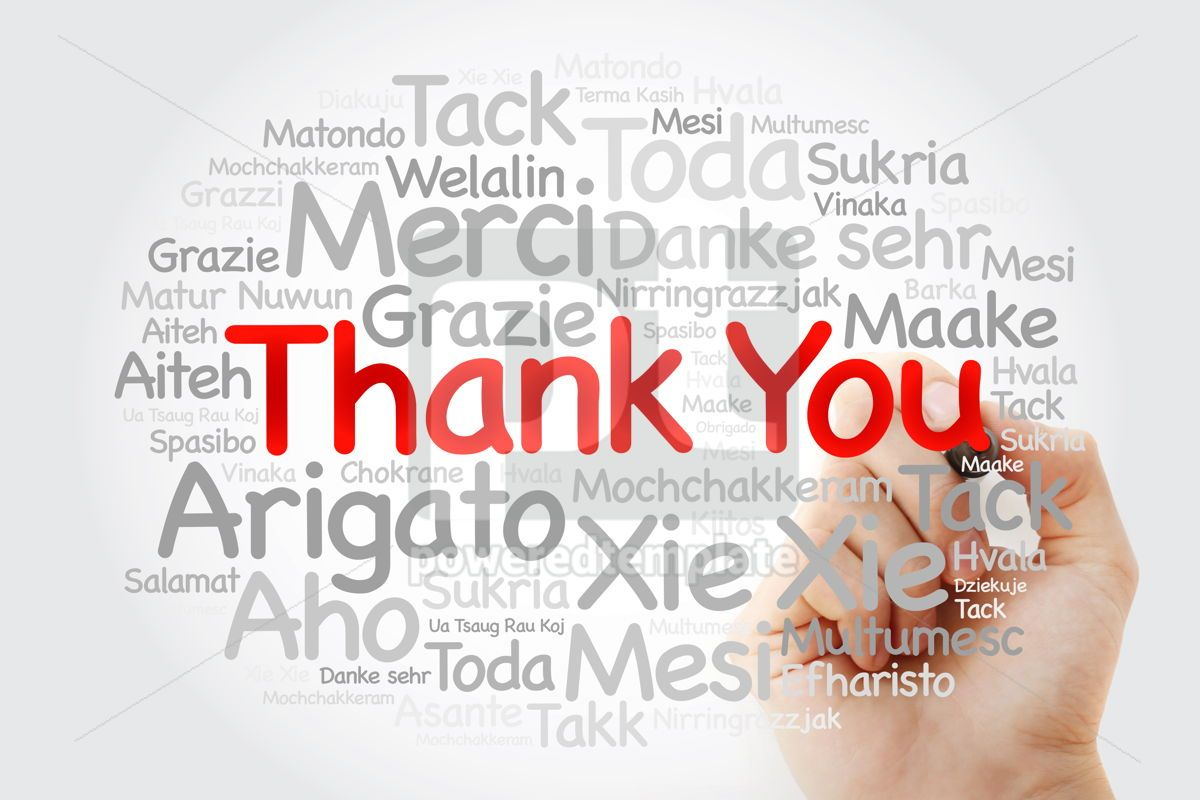 Thank You Word Cloud in all languages with marker concept backg, 09868, Business — PoweredTemplate.com
