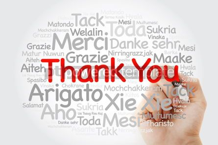 Business: Thank You Word Cloud in all languages with marker concept backg #09868