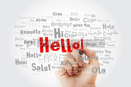 Business: Hello word cloud with marker in different languages of the world #09871