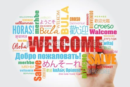 Business: WELCOME word cloud with marker in different languages conceptua #09875