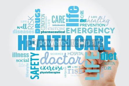 Health: Healthcare word cloud collage with marker health concept backgr #09876