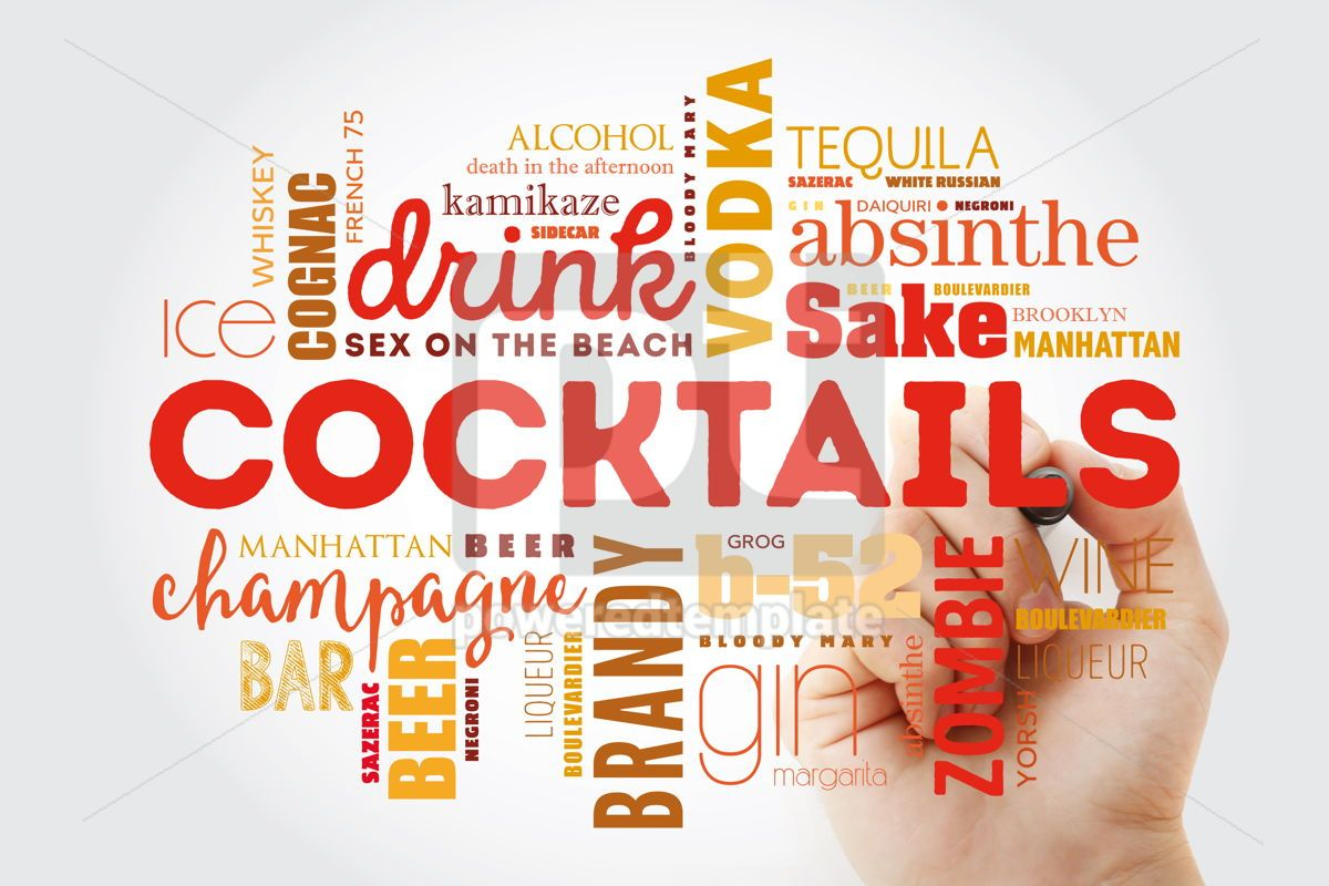 Different cocktails and ingredients word cloud collage with mar, 09877, Food & Drink — PoweredTemplate.com