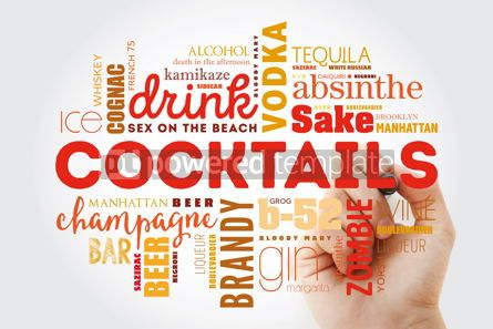 Food & Drink: Different cocktails and ingredients word cloud collage with mar #09877