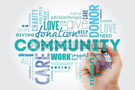 Business: Community word cloud collage with marker social concept backgro #09881