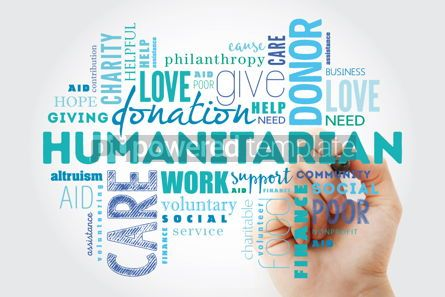 Business: Humanitarian word cloud collage with marker social concept back #09882