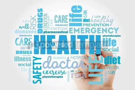 Health: HEALTH word cloud collage with marker concept background #09886
