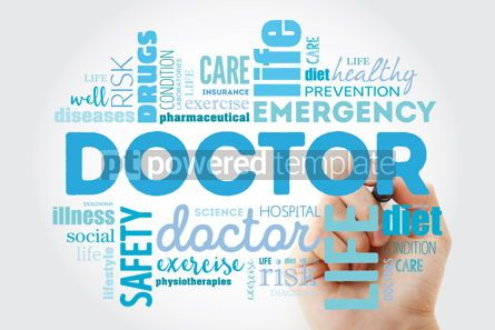 Health: Doctor word cloud collage with marker healthcare concept backgr #09888