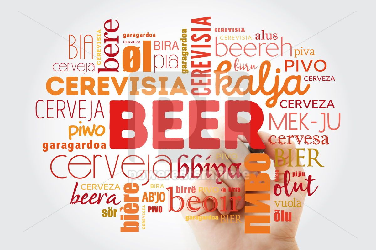BEER in different languages of the world (english french germa, 09891, Food & Drink — PoweredTemplate.com