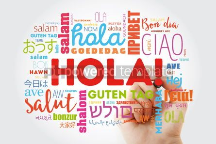 Business: Hola! (Hello Greeting in Spanish) word cloud in different langua #09894