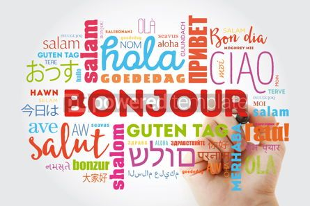Business: Bonjour (Hello Greeting in French) word cloud in different langu #09895