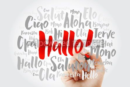 Business: Hallo (Hello Greeting in German) word cloud in different languag #09899