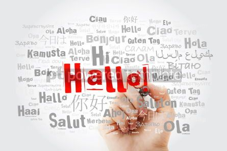 Business: Hallo (Hello Greeting in German) word cloud in different languag #09901