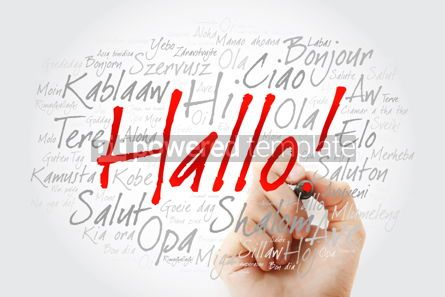 Business: Hallo (Hello Greeting in German) word cloud in different languag #09902