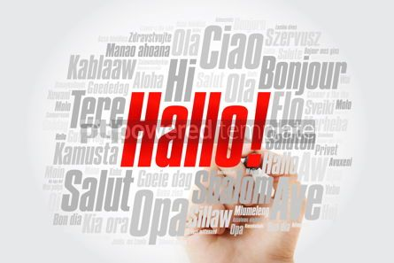 Business: Hallo (Hello Greeting in German) word cloud in different languag #09903