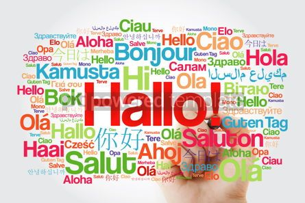 Business: Hallo (Hello Greeting in German) word cloud in different languag #09904