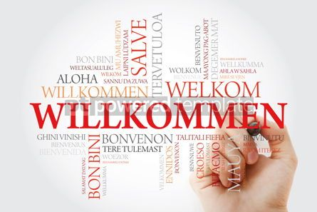 Business: Willkommen Welcome in German. Word cloud with marker in differe #09905